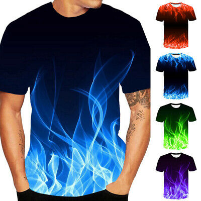 Men 3D Fire Flame Graphic Print Short Sleeve Personality T-Shirt Round-Neck Top