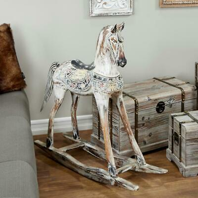 Handmade Vintage Beige And Black Wooden Rocking Horse With Ornamental Red New