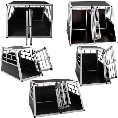 Single/Double Door Aluminium Dog Cat Crate Cage Transport Travel Carrier Box