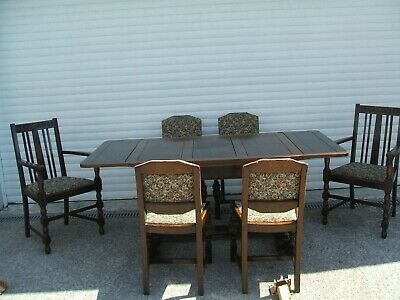 Antique Solid Oak Jacobean Style Draw Leaf Table With 2 Carvers & 4 Chairs