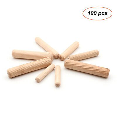 100Pcs Wood Fluted Wooden Dowels Round Dowel Fluted Pins Furniture Cabinets