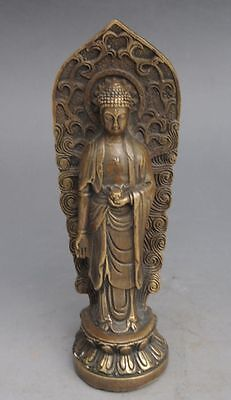 Antique old chinese hand made brass standing buddha statue tibet buddhism d01