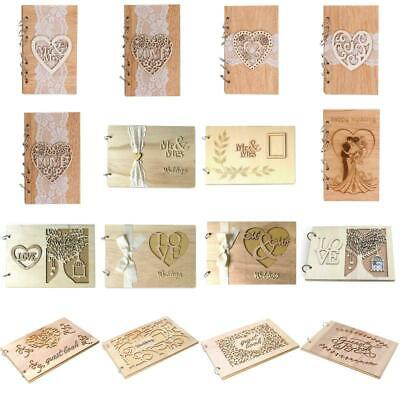 Wedding Decor Guest Books Signature Wooden Love Hollow Lace Notebook Sign Board