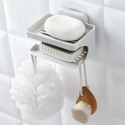 Wall Mount Drain Double Layer Container Kitchen Bathroom Suction Cup Soap Dish