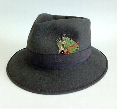 Vintage Royal Stetson USA Swagger fedora dark grey men's felt hat 6 7/8 55cm EUC