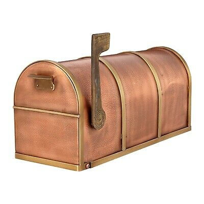Signature Hardware Rustic Post Mount Copper Mailbox with Brass Accents
