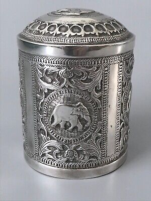 Antique Solid Silver Indian Tea Caddy / Hand Chased Elephants / Sterling / 135g