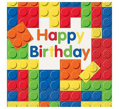 Happy Birthday Building Blocks Pack Of 16 Party Napkins 2 Ply Tableware New Gift