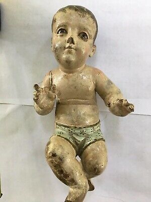 Antique Spanish Baby Jesus Santo GLASS EYES Carved wood Central American Figure