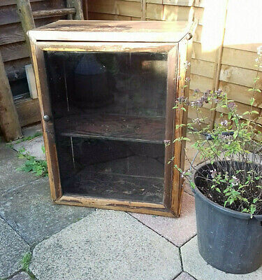 Antique Vintage Distressed Rustic Pitch Pine Kitchen Cupboard Glass Front