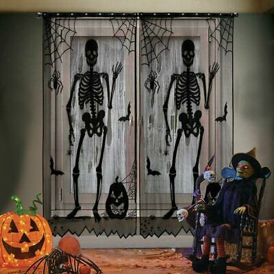 Halloween Lace Window Curtain Panel Skull Spooky Haunted House Event Party Decor
