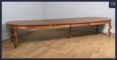 Antique English Victorian Extending 15ft Solid Oak Boardroom Dining Table c1870
