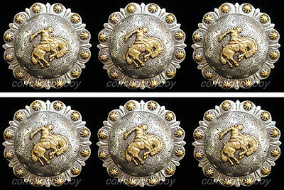 "Set of 6 WESTERN HORSE TACK GOLD BRONC RIDER BERRY SADDLE CONCHOS 1"" screw back"