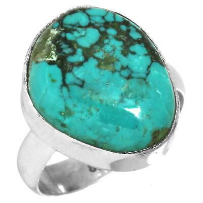 Turquoise Tibetan Collectible Ring Solid 925 Sterling Silver Size 6.5 UT87602