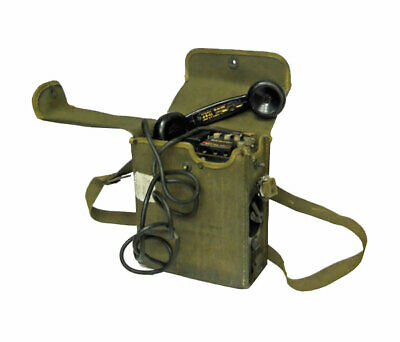 WWII Signal Corps US Army Telephone EE-8-B Field Phone with Canvas Case