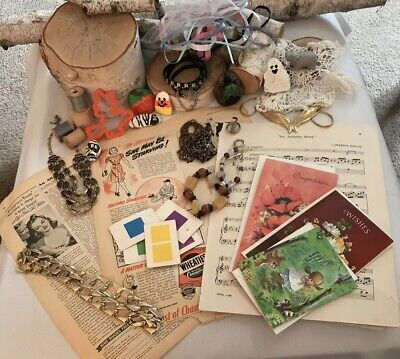Junk Drawer Lot Vintage and Antique Paper, Jewelry, Mixed Pieces, Cards, Crafts