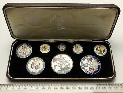 1887 Full Silver Coin Set - Dated 1887 Plush Box - coins beautifully enamelled!!