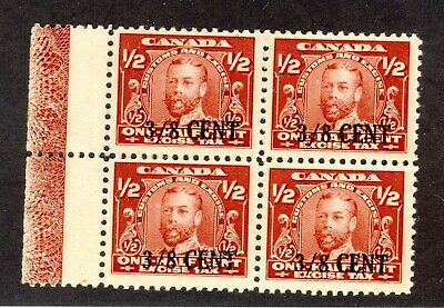 4x Canada Admiral stamps FX23-3/8c/1/2c Block of 4 with LATHEWORK Uncancelled NG