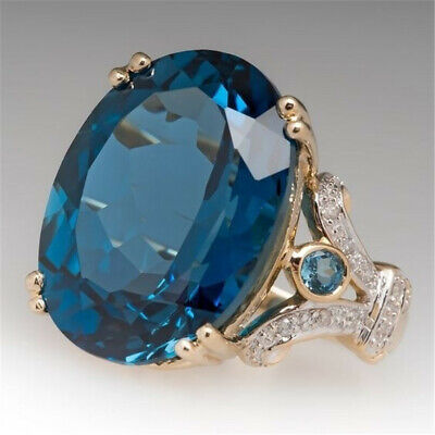 18K Gold Filled Blue Topaz Ruby Ring Wedding Bridal Proposal Sunny Jewelry Gift