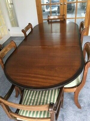 Mahogany Extending Dining Table & 6 Chairs Regency Style