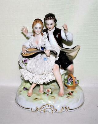 Antique Dresden Germany Lady & Gent Figurine With Lace Dress Applied Flowers