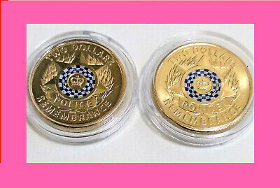 2 x 2019 $2, 2 dollar Police Remembrance Coin - Unc Cond