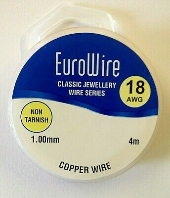 1mm COPPER Craft Wire, Beading/Jewellery Making, Non Tarnish Copper Wire, 18 AWG