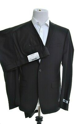 DKNY Mens Classic Fit Solid Black 2 Button Wool Blend Flat Front Two Piece Suit