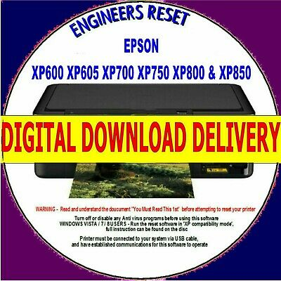 Epson Xp600 Xp605 Xp700 Xp850 Waste Ink Pad Counter Fault Reset Digital Download
