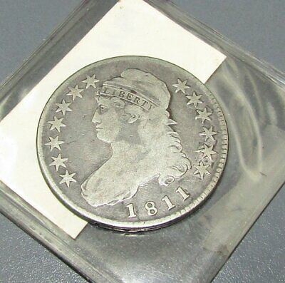 Raw 1811 Capped Bust 50C US Mint Circulated Early Silver Half Dollar Coin