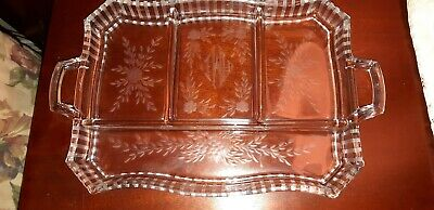 Vintage Clear Depression Glass Divided Relish/Candy Dish With Handels Etched