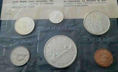 The  Old Canada Silver Coins Mint 1965 Set Uncirculated.