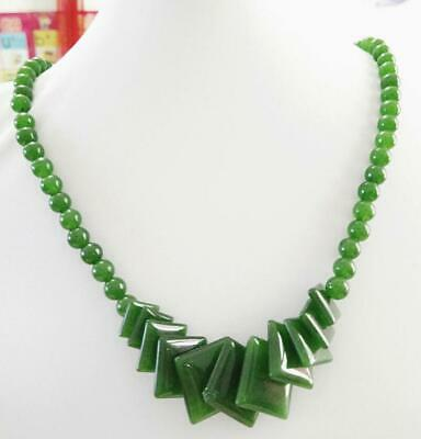 "Fashion Natural Green Jade Beads Jewelry Necklace 17"" AAAA grade a01"