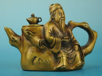 china copper Hand Made statue libai antique teapot /qianlong mark d02