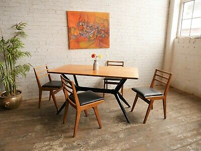 Rare Vintage 50s Retro Mid Century Modern G Plan Redford Dining Table & 4 Chairs