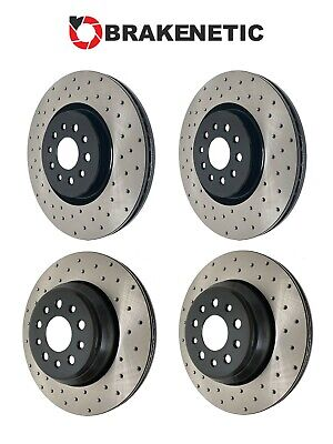 FRONT SET BRAKENETIC PREMIUM Cross DRILLED Brake Disc Rotors 312mm BNP33098.CD