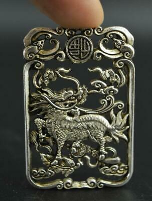 China Wonderful Miao Silver Carving Lifelike Kylin Rare Lucky Pendant a01
