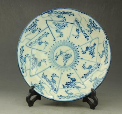 Chinese old hand-made porcelain Blue and white flower pattern plate b02