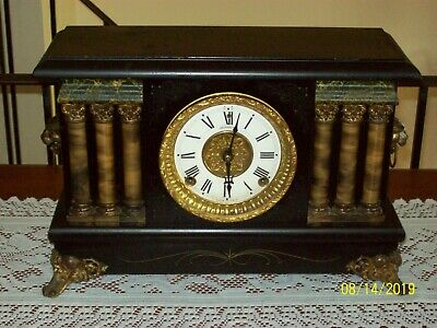 Antique SESSIONS Large 6 Column 8 Day MANTLE CLOCK  W/Gong Strike