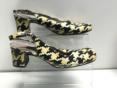 Vintage Mod 90s Patrick Cox Patent Houndstooth Check Yellow Black  Size  37