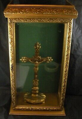 Antique Vintage Ornate Metal Standing Cross Crucifix In Display Case