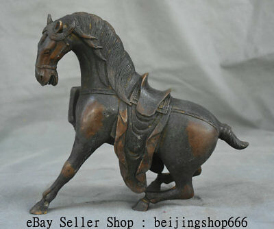"8.8"" Old Chinese Dynasty Bronze Zodiac Animal Running Horse Statue Sculpture"