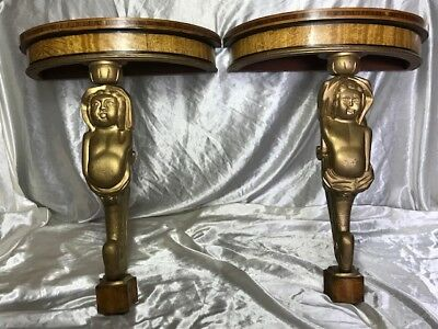 Pair Antique French Regency Style Demi Lune Marquetry Cherub Home Console Tables