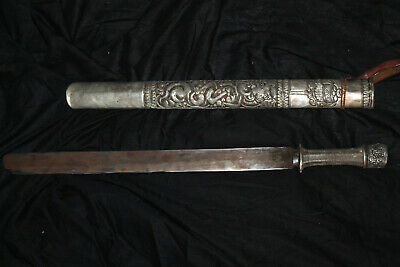 Antique Original 18th 19th Century Asia Chinese Sword Wire Handmade Carved Sword