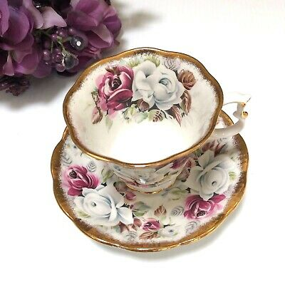 Royal Albert Summer Bounty Series Pearl Teacup And Saucer Footed Bone China