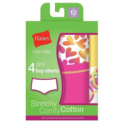 4-Girls Hanes Ultimate Cotton Stretch Boy Shorts Panties - Assorted Colors