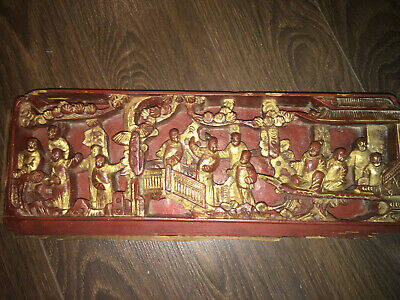 Rare Antique Chinese Rosewood Gilded Immortal Wood Carving Plaque Wall Panel