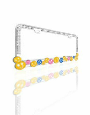 """VALOR Charming Multi-Colored """"HAPPY FACE"""" with White Crystals Design Metal Frame"""