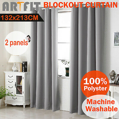 2X Blockout Curtains Thermal Blackout Curtains Eyelet Grey Pure Fabric Pair