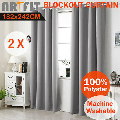 2X Blockout Curtains Blackout Curtains Thermal Eyelet Grey Pure Fabric Pair
